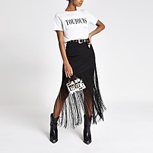 Wit aansluitend T-shirt met Toujours-print en franje
