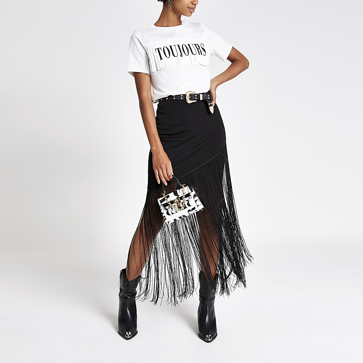 White 'Toujours' fringe fitted T-shirt