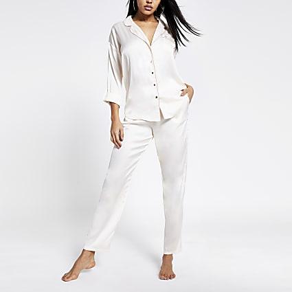 Cream loose fit satin pyjama trousers