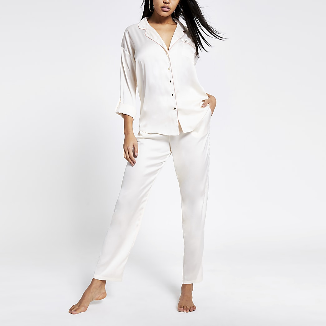 Cream loose fit satin pyjama trousers