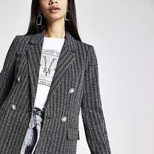 Grey herringbone check button blazer