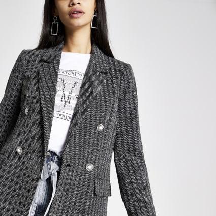 Grey herringbone check button blazer
