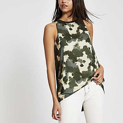 Khaki camo tank top