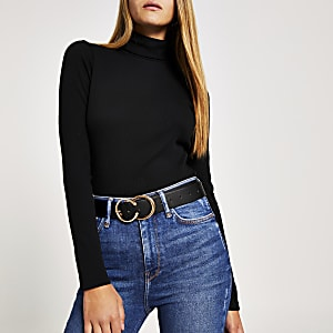 Black long sleeve roll neck ribbed top