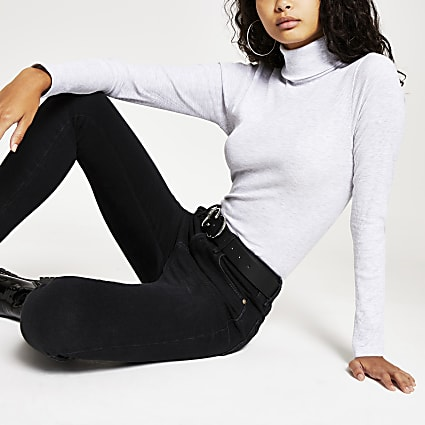 Grey long sleeve roll neck ribbed top