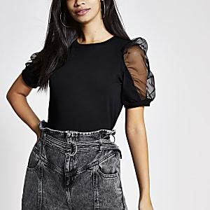 Zwart T-shirt met pofmouwen van mesh