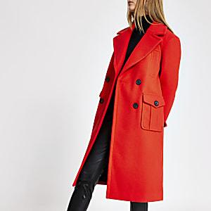 Manteau croisé rouge coupe longue