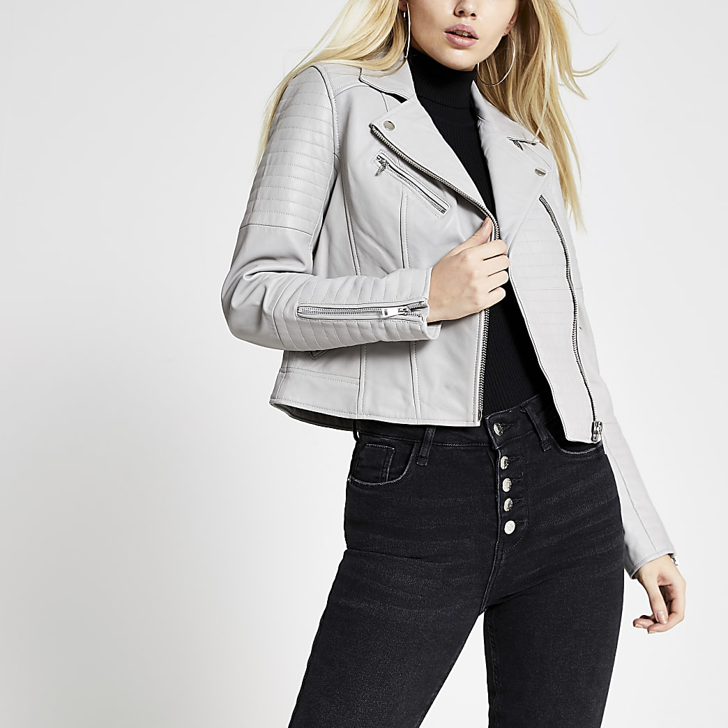 Light grey leather biker jacket