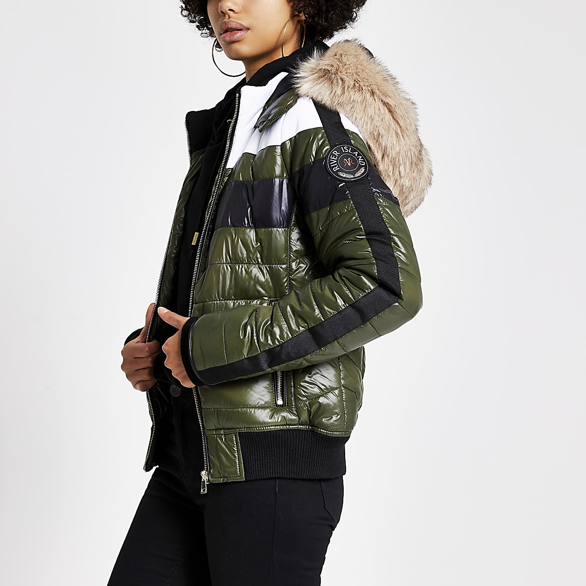 Khaki faux fur hood high shine padded jacket
