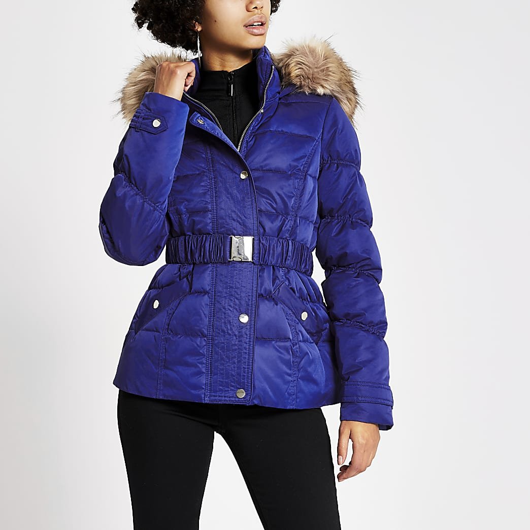 Blue padded faux fur hood belted jacket