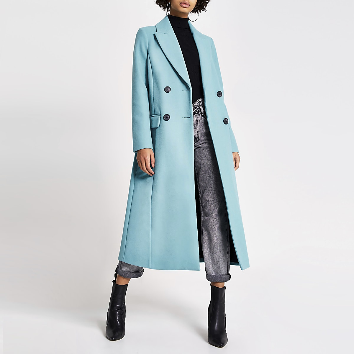 Bright blue double breasted longline coat