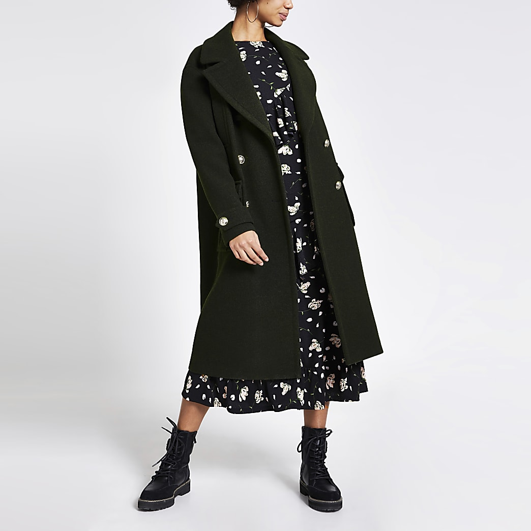 Khaki double breasted longline utility coat