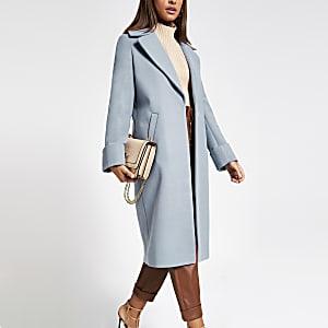 Blauwe lange single-breasted jas