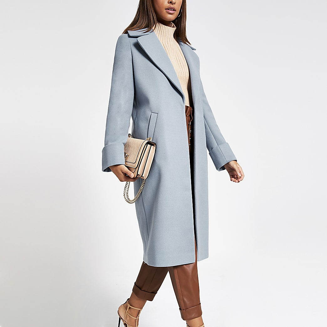 Blue longline single breasted coat