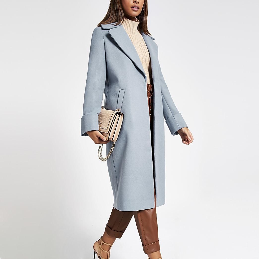 Manteau droit long bleu
