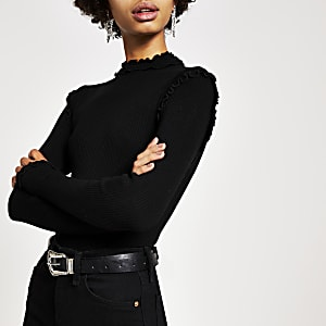 Black ribbed long sleeve frill high neck top