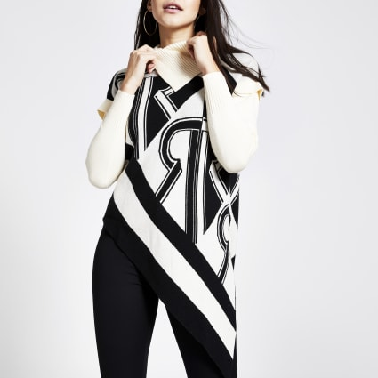 Cream printed asymmetric roll neck jumper