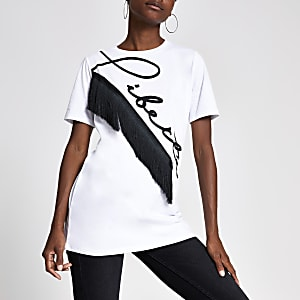 White 'Liberte' print boyfriend T-shirt