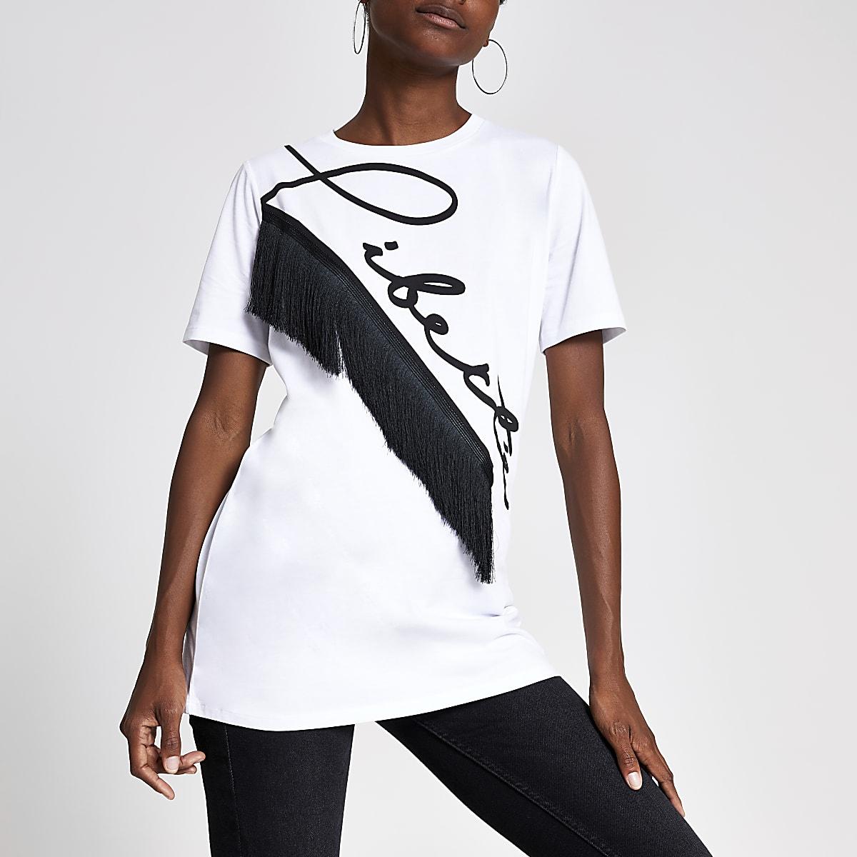 Wit boyfriend-T-shirt met 'Liberte'-print
