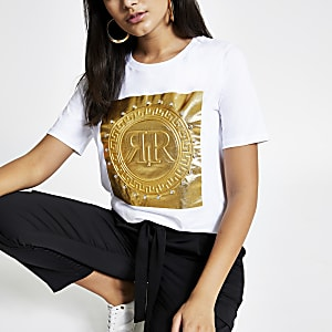 T-shirt boyfriend blanc avec logo RI en relief