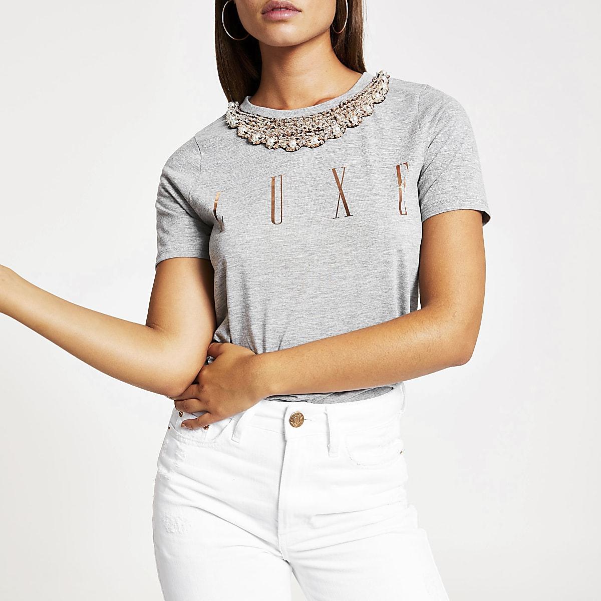 Grey embellished necklace T-shirt
