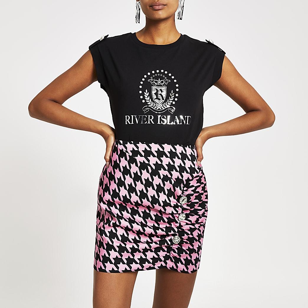 Black RI diamante crest T-shirt