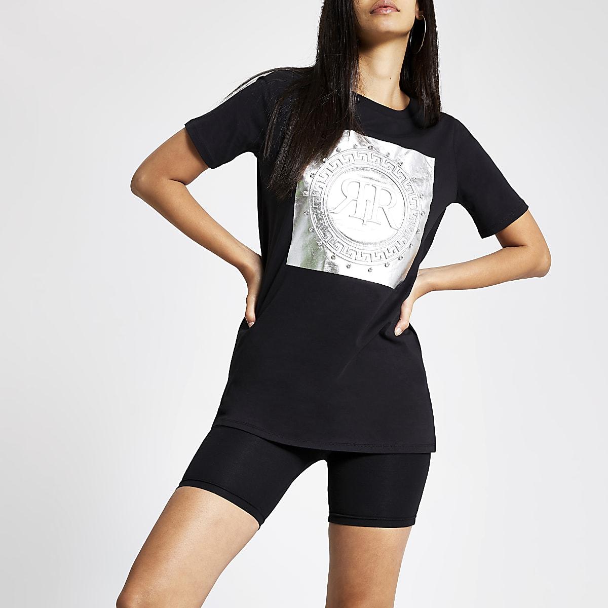 Zwart versierd boyfriend T-shirt met RI-print