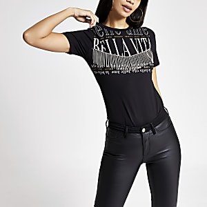 Black printed diamante tassel T-shirt