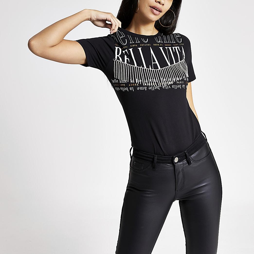 Zwart T-shirt met print, kwastjes en diamantjes