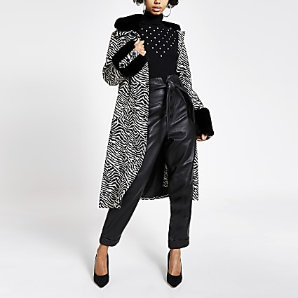 Black zebra print faux fur trim swing coat