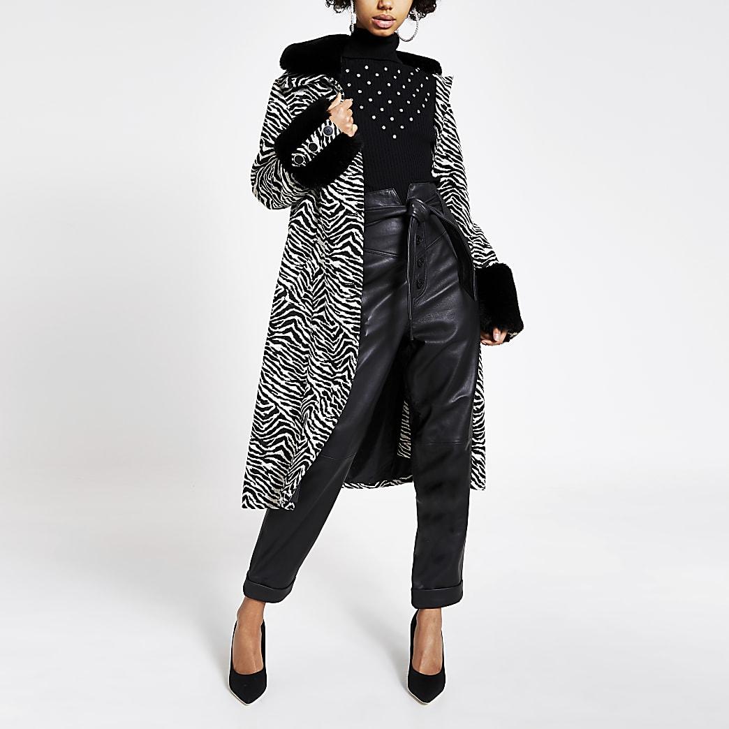 Black zebra print faux fur trim swing coat