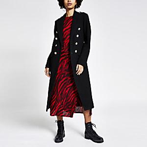 Zwarte double-breasted lange utility jas