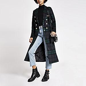 Manteau long bleu marineà carreaux avec boutons