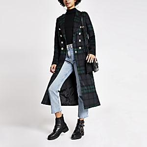 Marineblauwe geruite lange jas met knopen voor