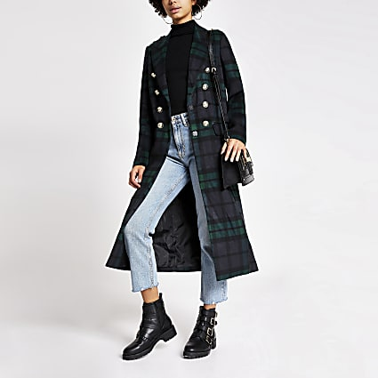 Navy tartan check button front longline coat