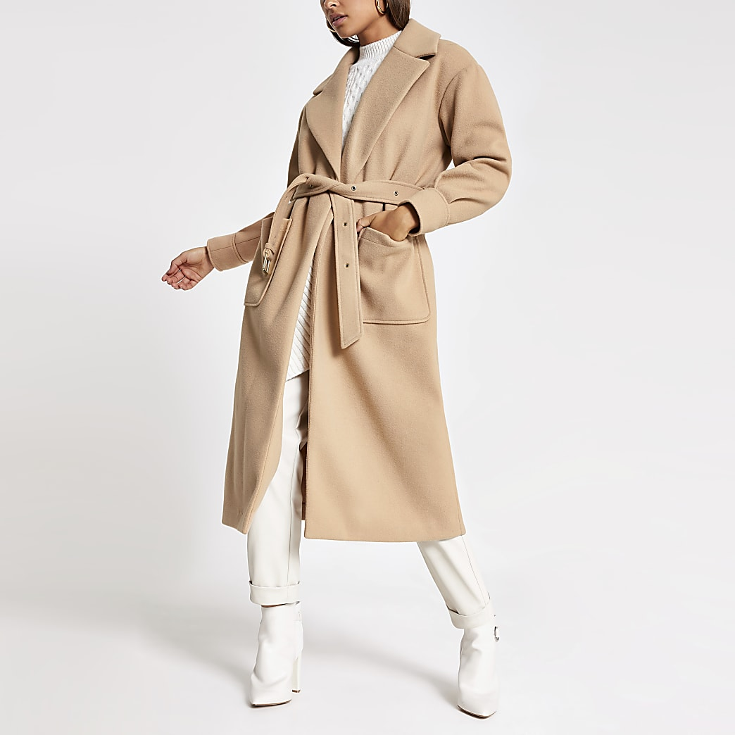 Beige balloon long sleeve belted coat