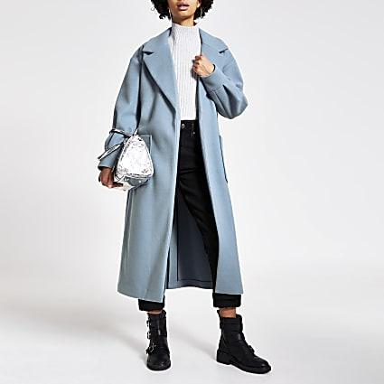 Blue balloon sleeve tie belted longline coat
