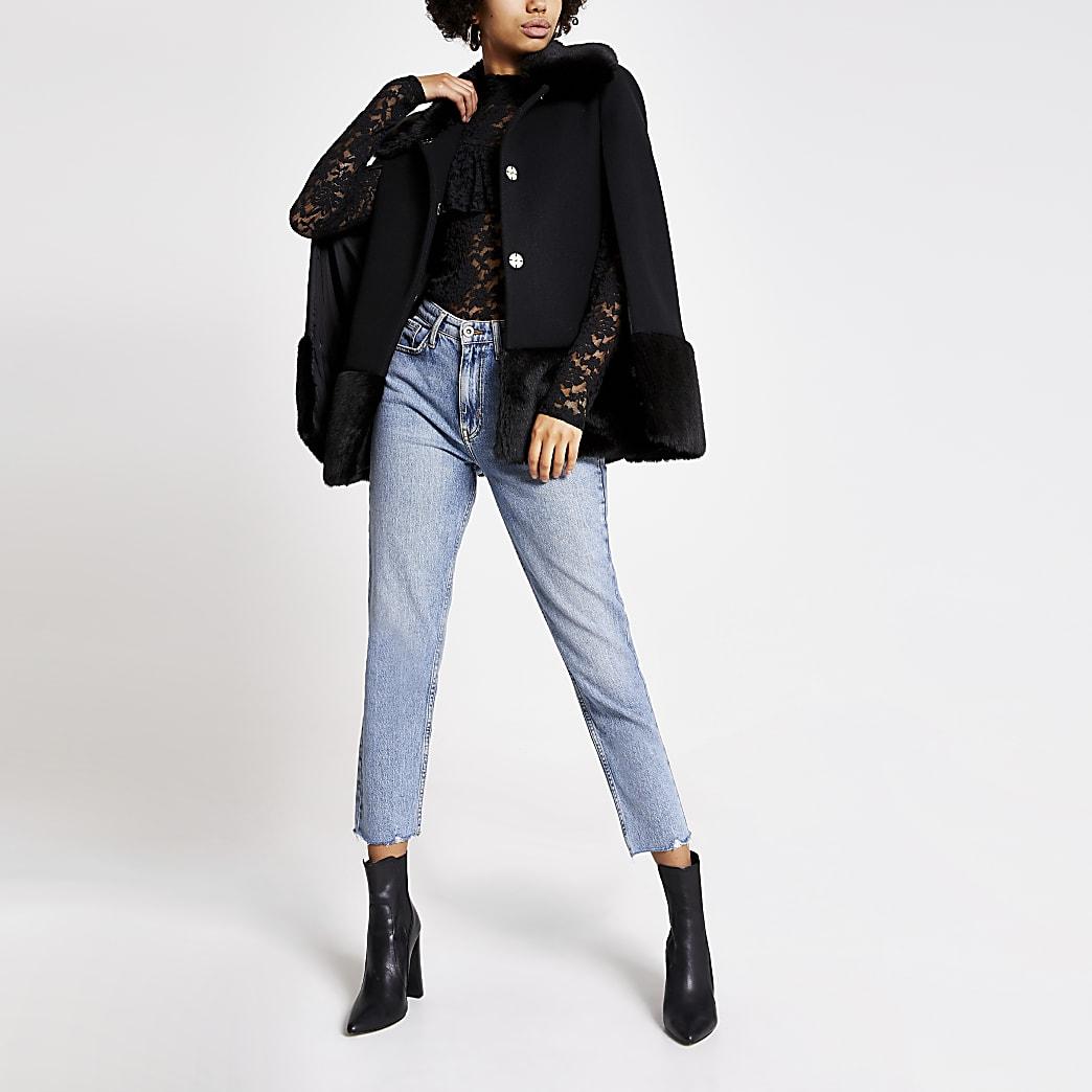 Black faux fur trim cape