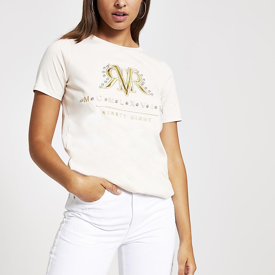Lichtbeige T-shirt met RVR-print en versiering