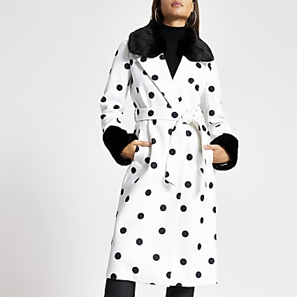 Cream polka dot faux fur trim robe coat