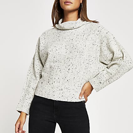 Grey speckled batwing sleeve knitted jumper