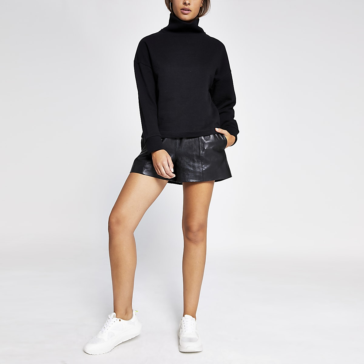 Black ribbed high neck sweatshirt