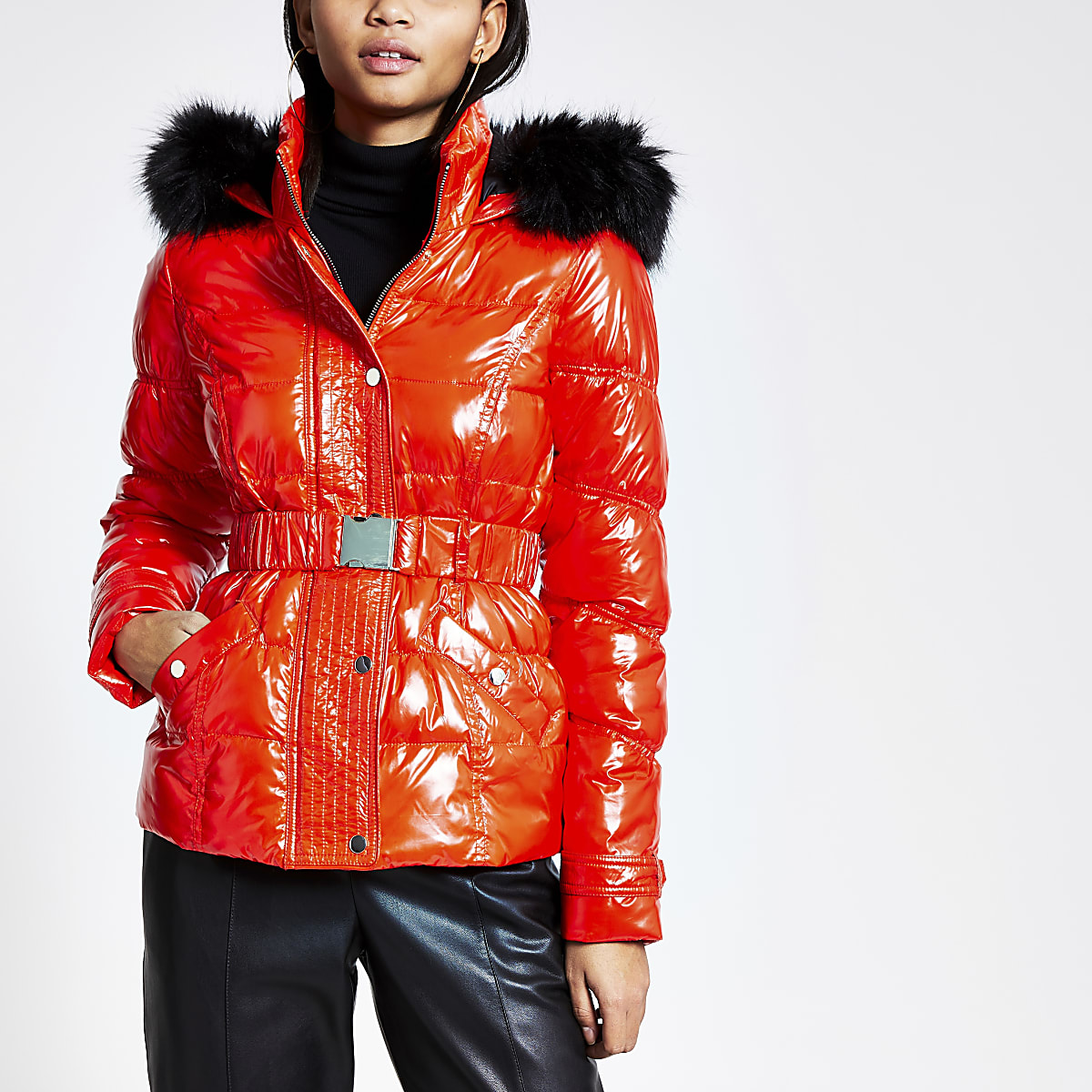 Red quilted faux fur hood fitted jacket