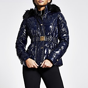Navy quilted faux fur hood fitted jacket