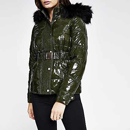 Khaki quilted faux fur hood fitted jacket