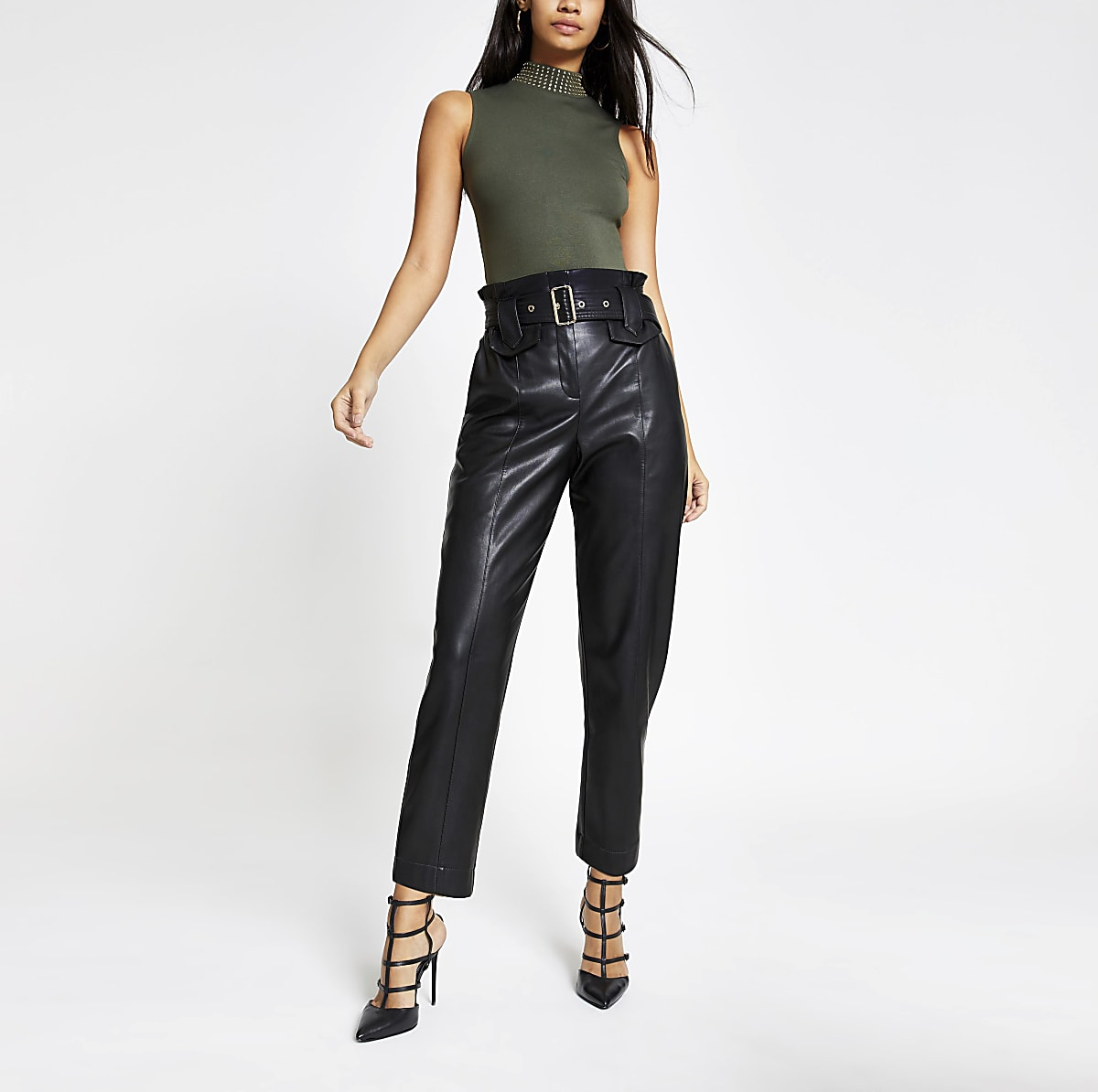 Khaki diamante embellished neck bodysuit