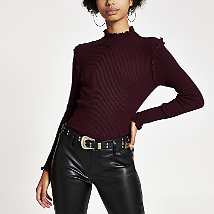 Dark red fitted frill trim high neck top