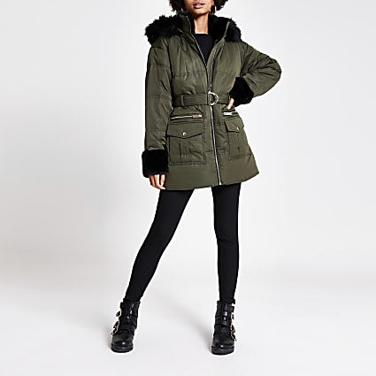 Khaki faux fur trim tie belted padded coat