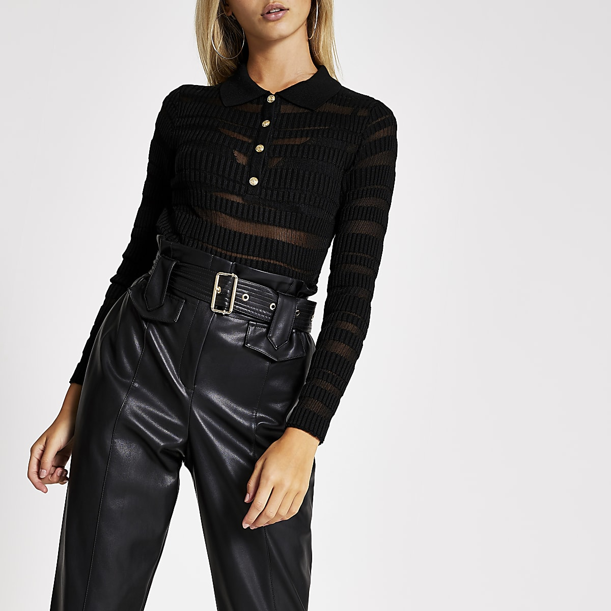 Black sheered long sleeve polo top