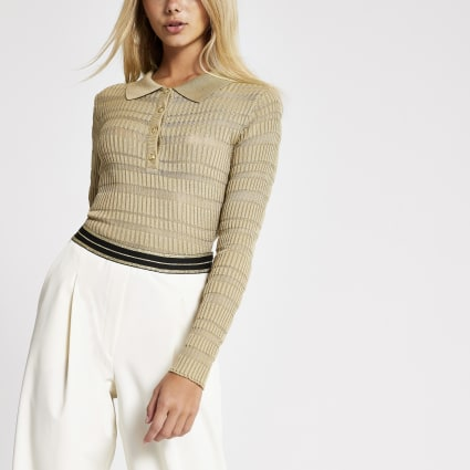 Light brown sheer long sleeve polo top